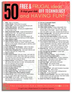 50 Free & Frugal Ideas To Keep Kids Off Technology & Having Fun!   Frugal Fun Mom