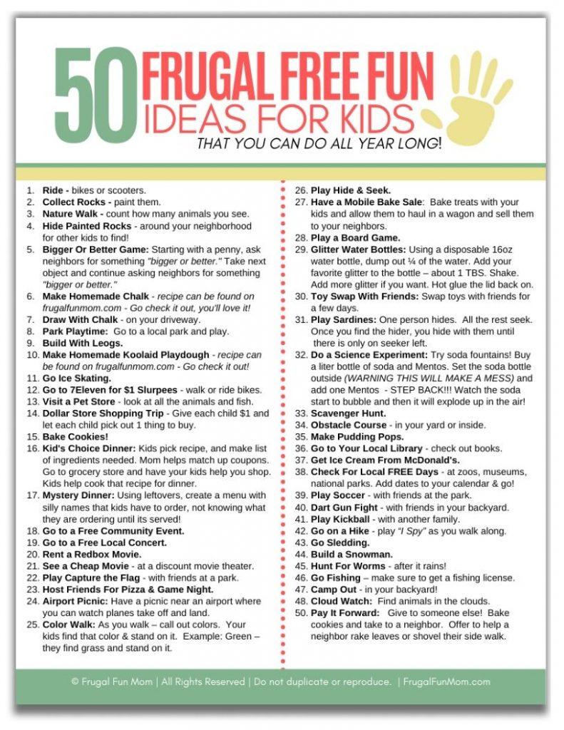 50 Ideas of Frugal Free Fun For Kids | Frugal Fun Mom