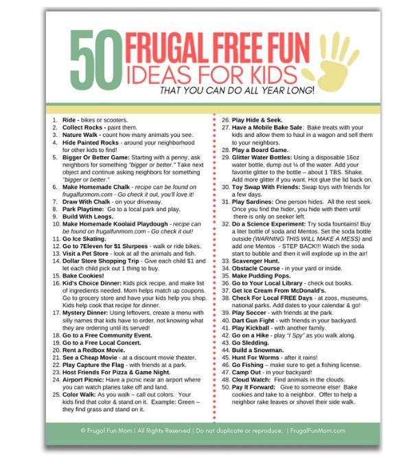 50 Frugal Free Fun Ideas For Kids   Frugal Fun Mom