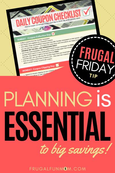 Planning Is Essential - Frugal Friday Tip #3 | Frugal Fun Mom