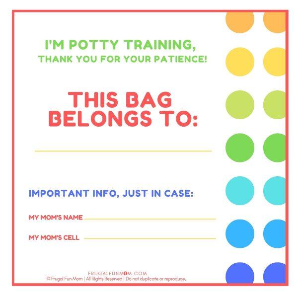 Potty Training Bag Tag | Frugal Fun Mom