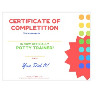 Potty Training Certificate | Frugal Fun Mom