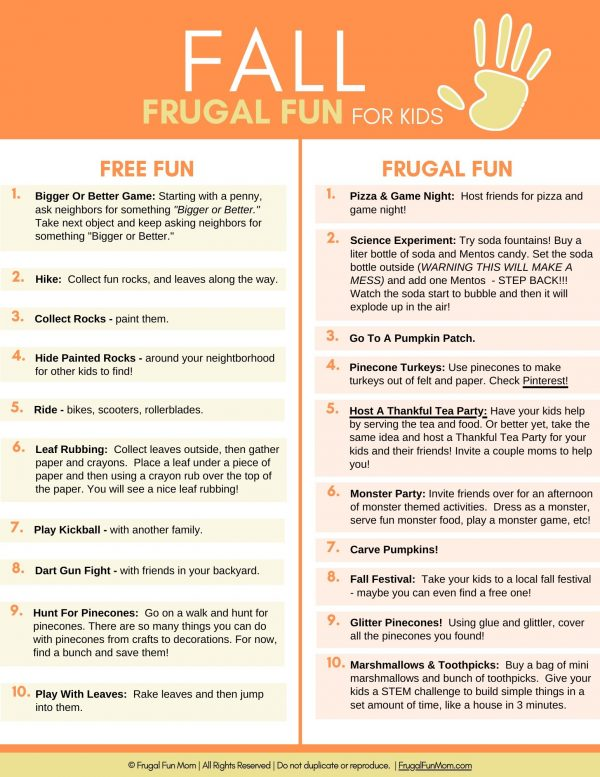 Ultimate Guide To Frugal Fun For Kids Fall | Frugal Fun Mom